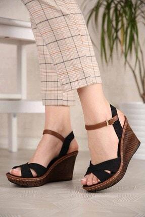 Ccway Kadın Siyah Keten Çapraz Bantlı Dolgu Topuklu Sandalet 1