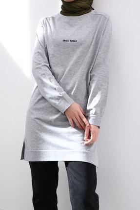 Ekrumoda Kadın Gri Pamuklu Sweatshirt 0
