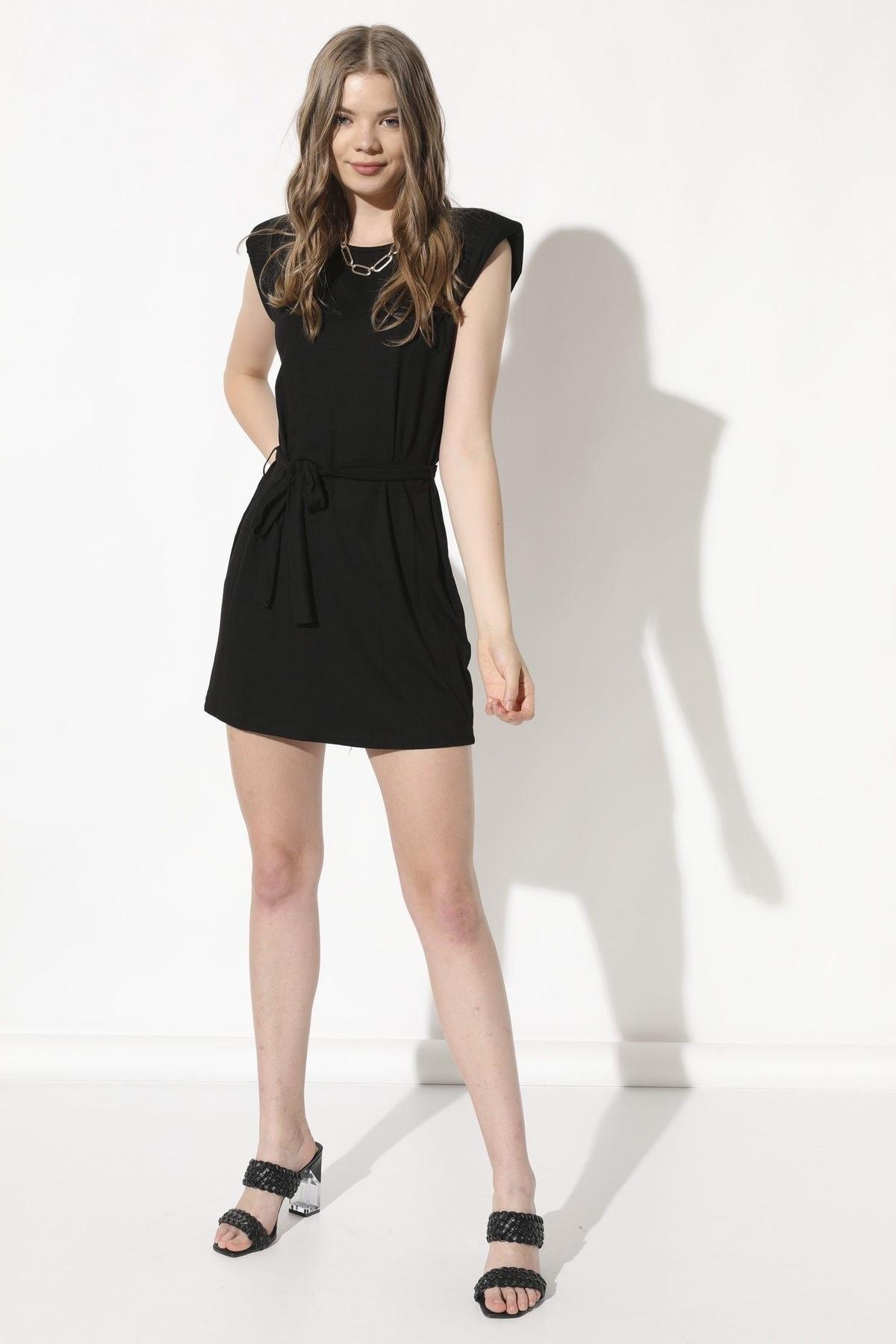 Arma Life Kadın Siyah Vatkalı Elbise