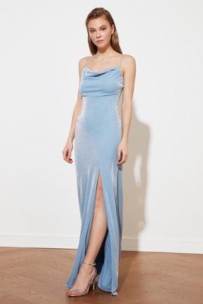 TRENDYOLMİLLA Mavi Askı Detaylı Abiye & Mezuniyet Elbisesi TPRSS19UT0102 4