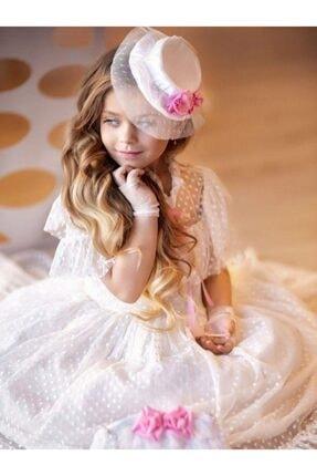 Riccotarz Kız Çocuk Beyaz Noble Beaute Şapkalı Elbise 1