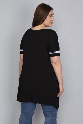 Şans Kadın Siyah Şerit Detaylı Asimertik Tunik 65N23133 2