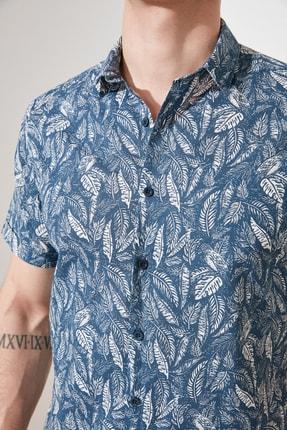 TRENDYOL MAN Lacivert Erkek Regular Fit Gömlek Yaka Tropik Baskılı  Gömlek TMNSS21GO0709 4