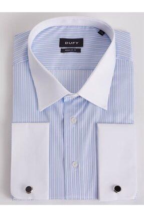 Picture of Büyük Beden - Mavi Kol Düğmeli Çizgili Erkek Gömlek