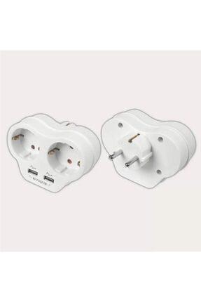 VİKO Beyaz 2'li Topraklı ve 2,1 Amper 2 Usb Çıkışlı Fiş Priz Hızlı Şarj Cihazı 2