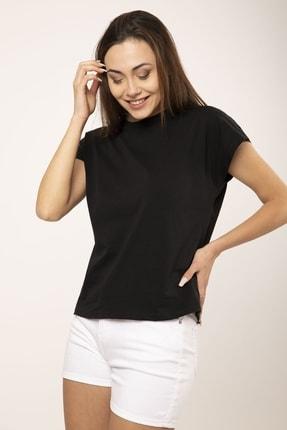 MD trend Kadın Siyah Pamuklu Kısa Kollu Basic T-shirt 1