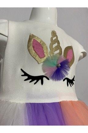 Buse&Eylül Bebe Kız Çocuk  Ekru Unicorn Taçlı Parti Elbisesi 4