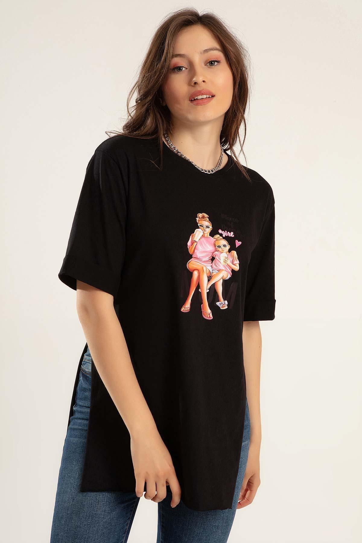 Kadın Baskılı Yanları Yırtmaçlı Tişört Y20s110-0364