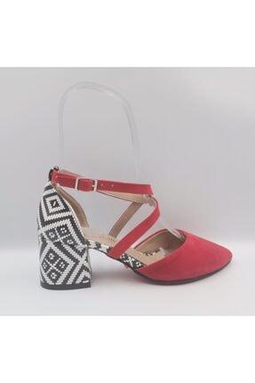 Kadın Kırmızı Süet Topuklu Ayakkabı KIRMIZI YAZLIK KADIN AYAKKABI