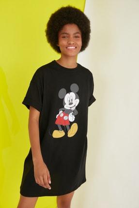 TRENDYOLMİLLA Siyah Mickey Mouse Lisanslı Baskılı Örme Elbise TWOSS21EL0103 2