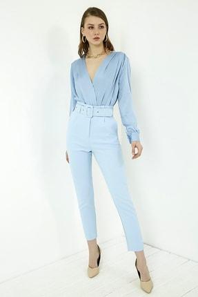 Vis a Vis Kadın Mavi Yüksek Bel Kemerli Pantolon 4