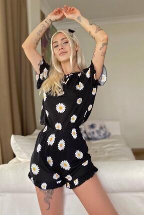 Pijamaevi Papatya Desenli Örme Kısa Kol Şortlu Pijama Takımı 0