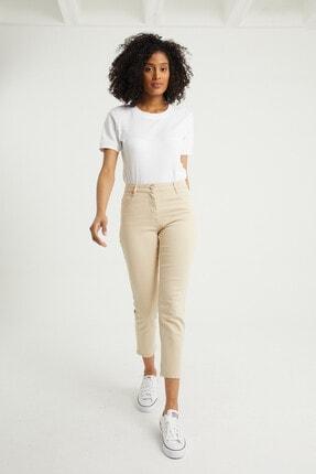 BOSHETTI Krem Yüksek Bel Mom Comfort Slim Fit Jeans 1