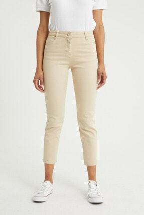 BOSHETTI Krem Yüksek Bel Mom Comfort Slim Fit Jeans 2