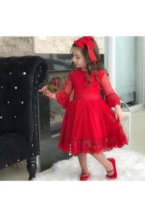 Riccotarz Kız Çocuk Prenses Güpürlü Kırmızı Elbise 0