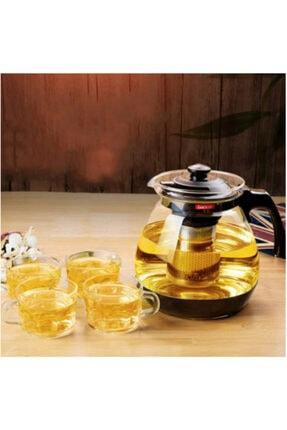 Oranj Life 700 ml Çelik Süzgeçli Cam Demlik Isıya Dayanıklı Cam Çaydanlık Bitki Çayı Demliği 0