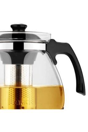 Oranj Life 700 ml Çelik Süzgeçli Cam Demlik Isıya Dayanıklı Cam Çaydanlık Bitki Çayı Demliği 2
