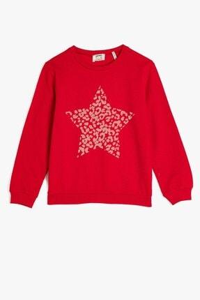 Koton Koton Kız Çocuk Bisiklet Yaka Baskılı Kırmızı Sweatshirt 1kkg17967ok 0