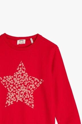 Koton Koton Kız Çocuk Bisiklet Yaka Baskılı Kırmızı Sweatshirt 1kkg17967ok 1