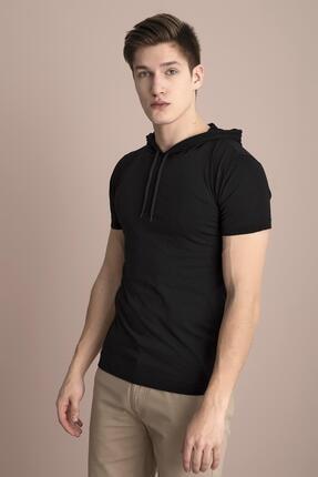 Tena Moda Erkek Siyah Kapüşonlu Düz Tişört 2