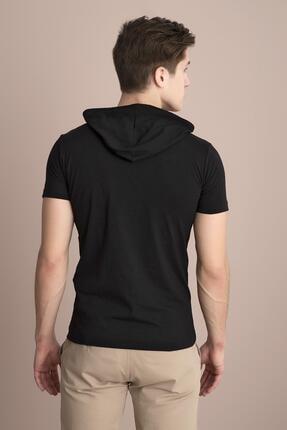 Tena Moda Erkek Siyah Kapüşonlu Düz Tişört 3