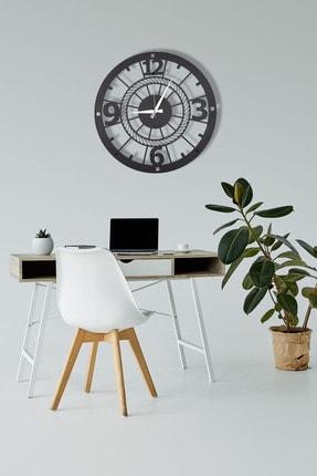 DFA DEKORATİF Dekoratif Metal Duvar Saati Siyah Büyük Boy 48 X 48 Cm 2