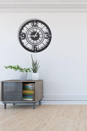 DFA DEKORATİF Dekoratif Metal Duvar Saati Siyah Büyük Boy 48 X 48 Cm 3
