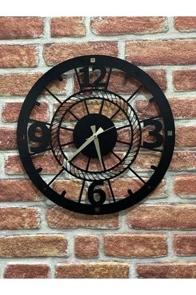 DFA DEKORATİF Dekoratif Metal Duvar Saati Siyah Büyük Boy 48 X 48 Cm 4