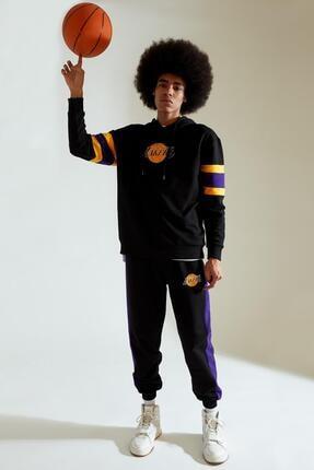 Defacto Erkek Siyah Nba Lisanslı Oversize Fit Kapüşonlu Sweatshirt 1