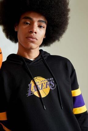 Defacto Erkek Siyah Nba Lisanslı Oversize Fit Kapüşonlu Sweatshirt 2