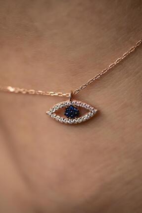 İzla Design Kadın Göz Model Safir Taşlı Rose Kaplama Gümüş Halhal PKT-İZLASLVR00288 2