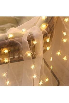 MASTEK Led Işıklı 30 Kristal Yıldız Dizeleri 4,5 Metre (Sarı Renkli) Pilli Dekoratif Lamba 2