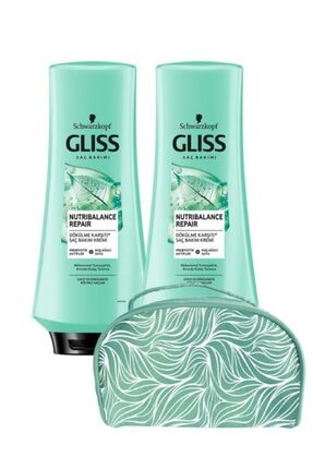 Gliss Nutribalance Saç Kremi 360 ml X2 Adet+makyaj Çantası 0