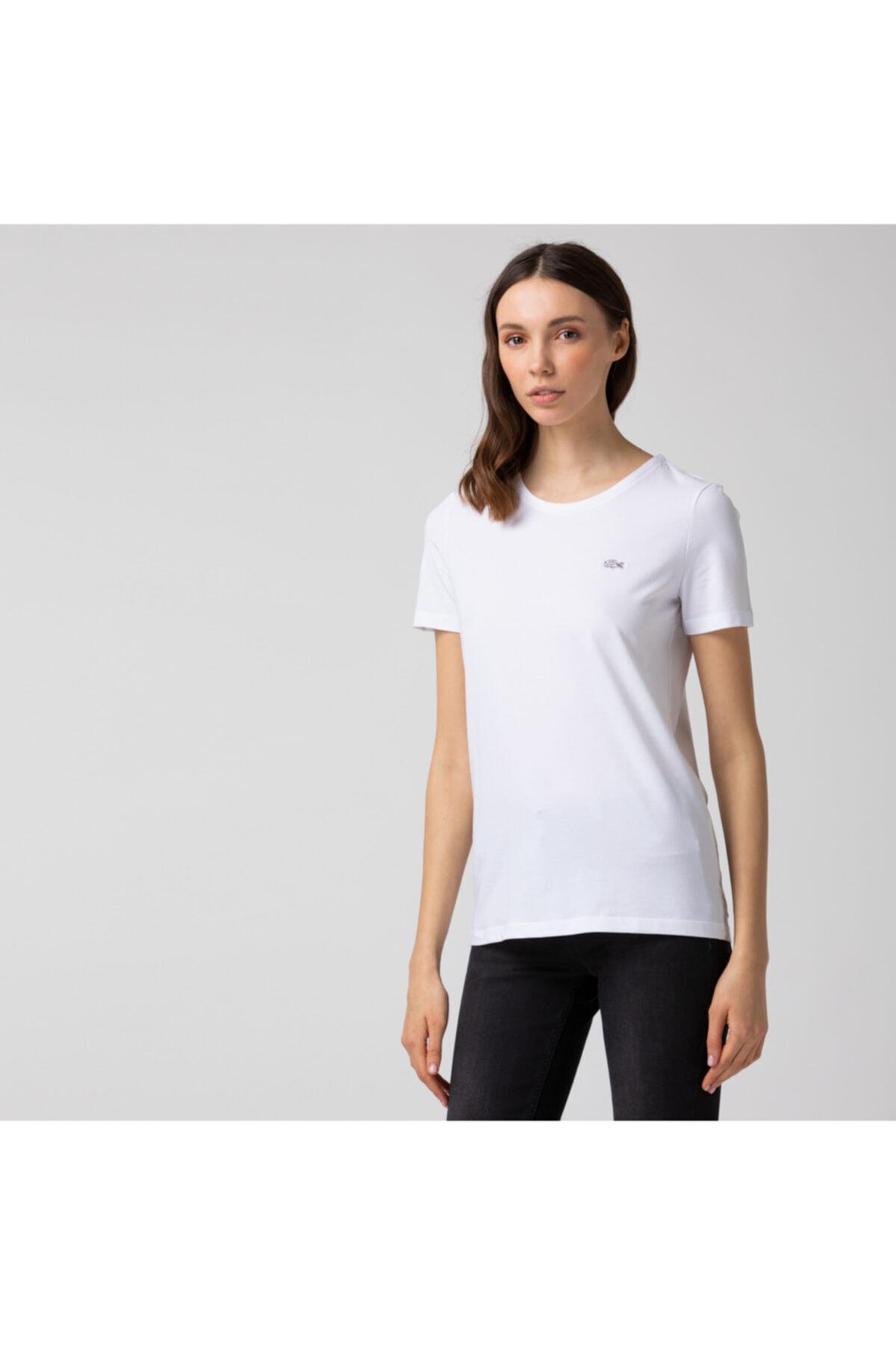 Kadın Slim Fit Bisiklet Yaka Beyaz T-shirt