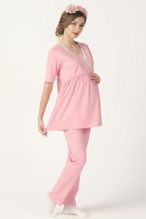 PrettyChic Kadın Pudra Pembe Hamile ve Lohusa Gizli Emzirme Özellikli Likralı Süprem Pijama Takımı 0