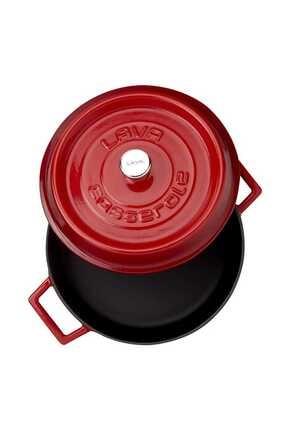 Lava Trendy Çok Amaçlı Döküm Demir Sığ Tencere Çap 28 Cm-kırmızı 2