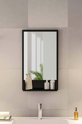 bluecape Siyah Raflı Antre Hol Koridor Duvar Salon Mutfak Yatak Odası Aynası  75cm 1