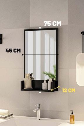 bluecape Siyah Raflı Antre Hol Koridor Duvar Salon Mutfak Yatak Odası Aynası  75cm 3