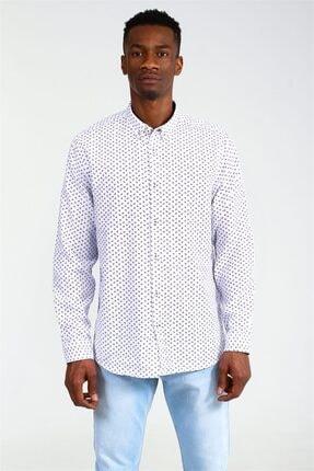 Beyaz Erkek Beyaz Klasik Yaka Spor Desenli Regular Uzun Kol Gomlek UCE541711A52