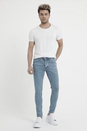 MODAMESTO Erkek Açık Mavi Slim Fit Likralı Dar Paça Kot Pantolon 1