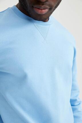 Defacto Erkek Turkuaz Regular Fit Bisiklet Yaka Basic Sweatshirt 2