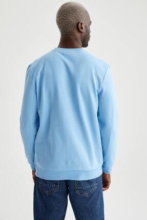 Defacto Erkek Turkuaz Regular Fit Bisiklet Yaka Basic Sweatshirt 3