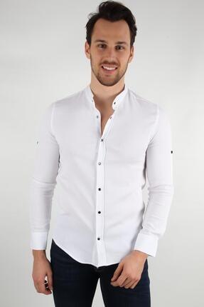 ALEXANDERGARDI Hakım Yaka Slim Fit Gömlek, Beyaz (E20-611100) 0