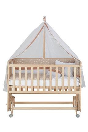Babycom Anne Yanı Doğal Boyasız Ahşap Kademeli Beşik 70x130 - Tekerlekli + Kahve Yıldızlı Uyku Seti 1
