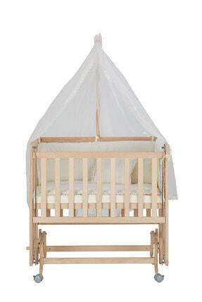 Babycom Anne Yanı Naturel Boyasız 50*90 Ahşap Beşik - Tekerlekli + Krem Uyku Seti 4