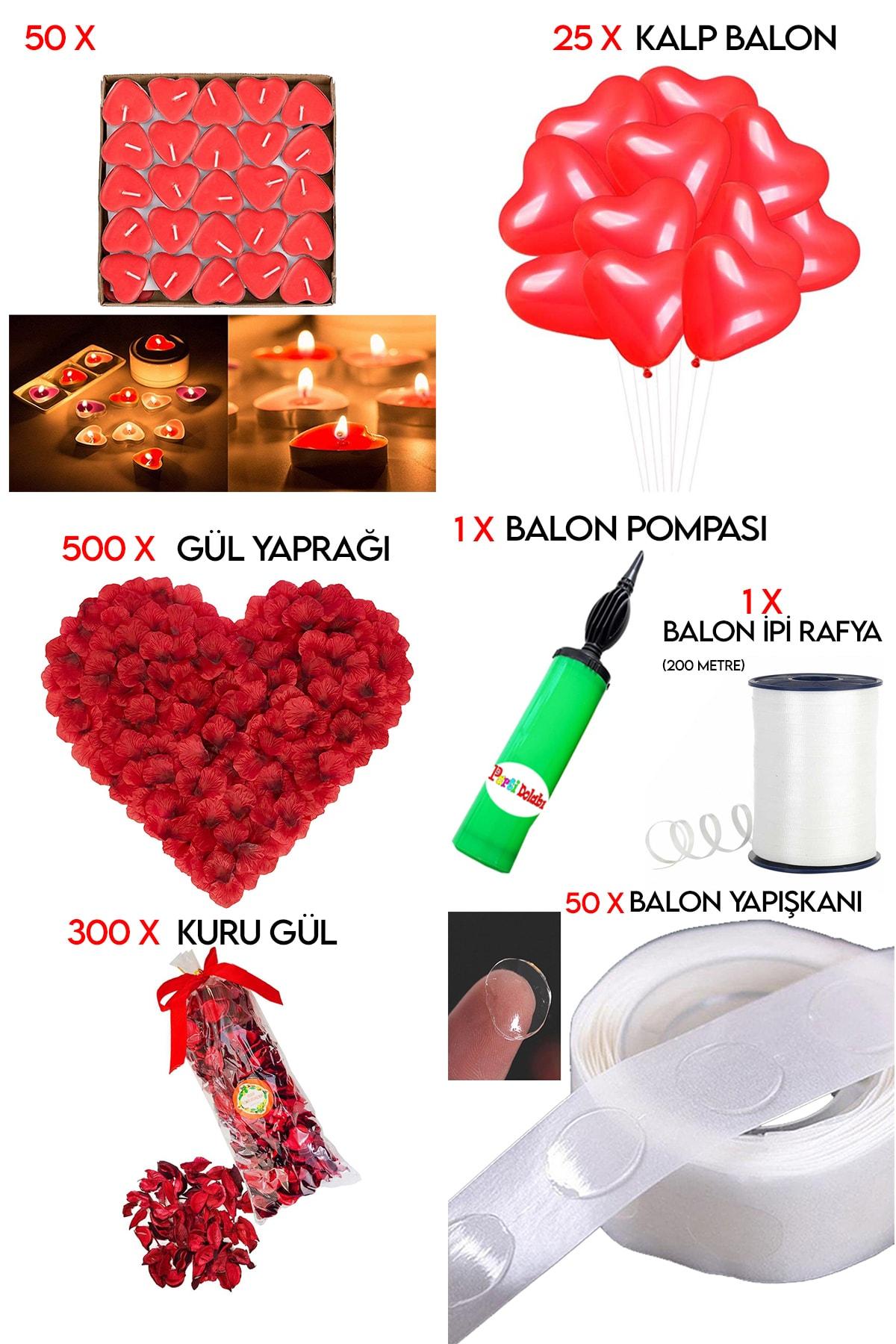 50 Kalp Mum, 25 Kalp Balon, 500 Gül Yaprağı, 300 Kuru Gül, 1 Balon Pompası Evlilik Teklifi Paket Set