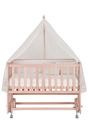 Babycom Doğal Ahşap Boyasız Anne Yanı Tekerlekli Beşik 60*120 4 Kademeli 2