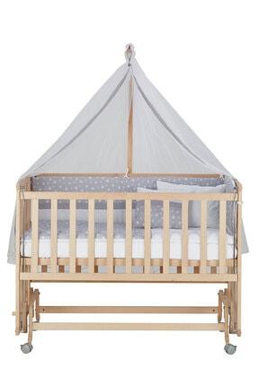 Babycom Doğal Ahşap Boyasız Anne Yanı Tekerlekli Beşik 60x120 4 Kademeli + Gri Yıldızlı Uyku Seti 3