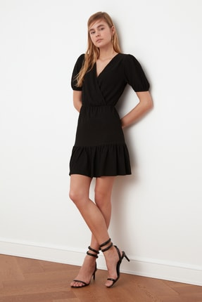 TRENDYOLMİLLA Siyah Asimetrik Yaka Örme Elbise TWOSS21EL0377 0