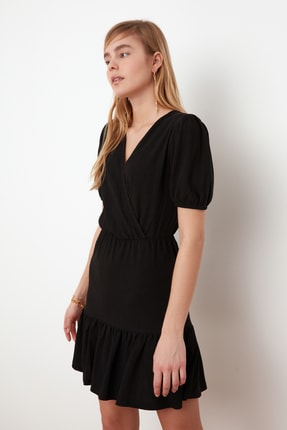 TRENDYOLMİLLA Siyah Asimetrik Yaka Örme Elbise TWOSS21EL0377 2